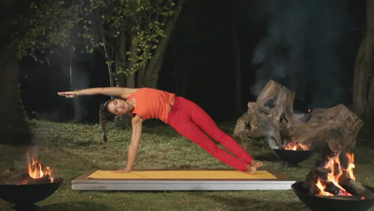 Side plank yoga pose can help get things moving in the bathroom